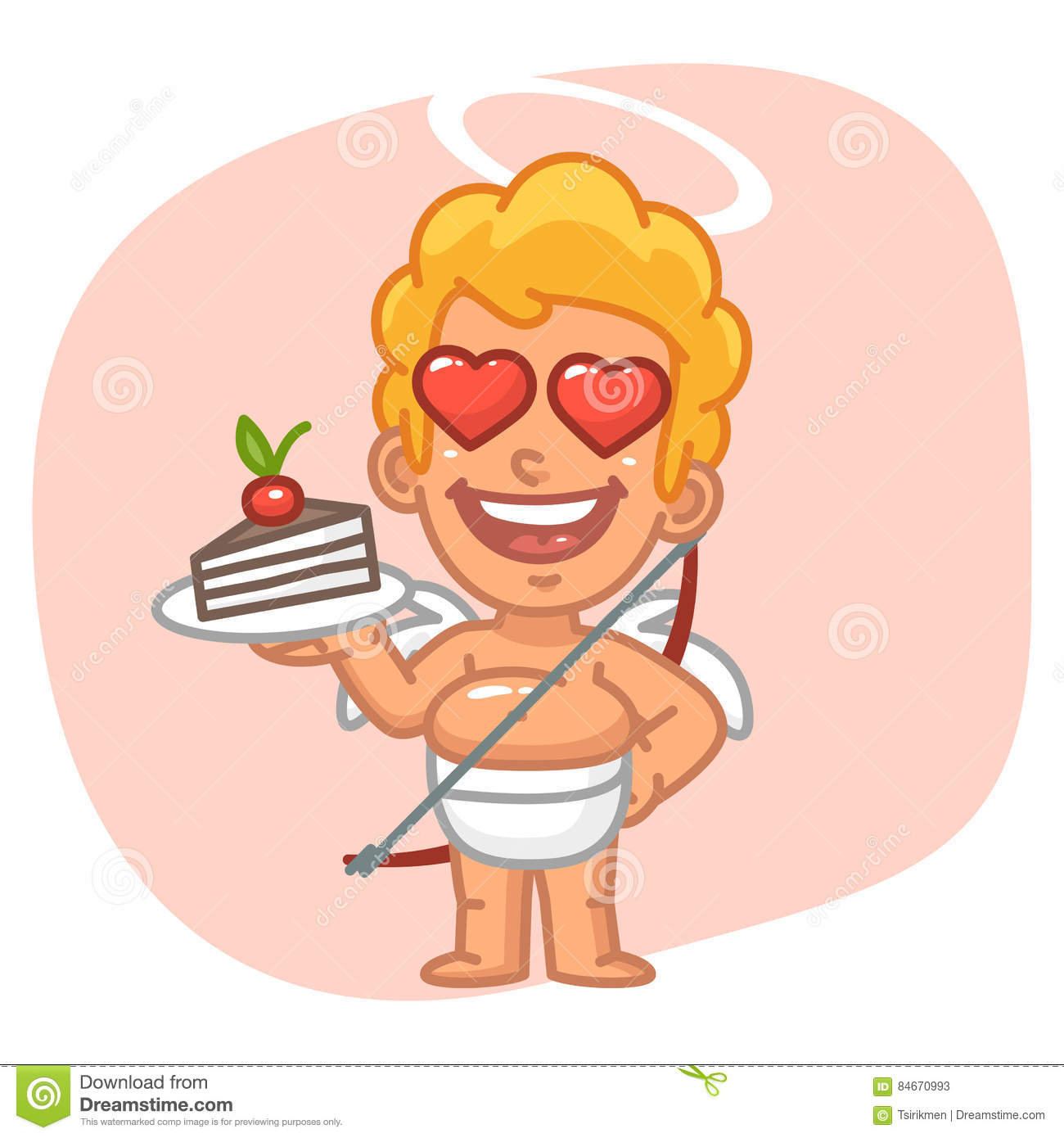 Cupid With Loving Eyes Holding Piece Cake Stock Vector.