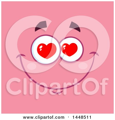 Clipart of a Loving Face with Heart Eyes on Pink.