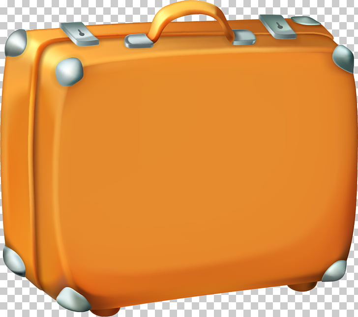Suitcase Baggage Travel , Cartoon yellow suitcase PNG.