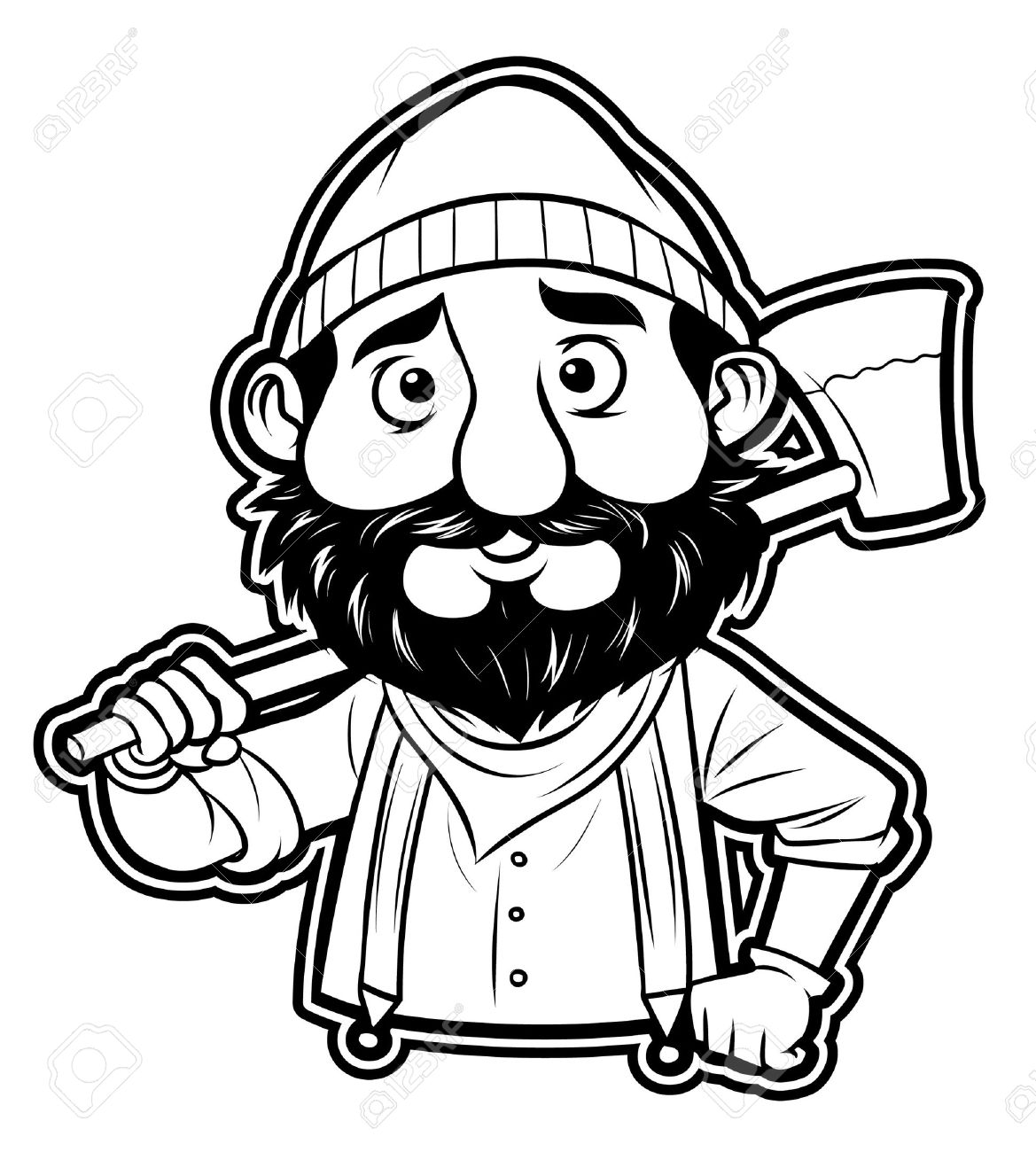 black and white clipart lumberjack.