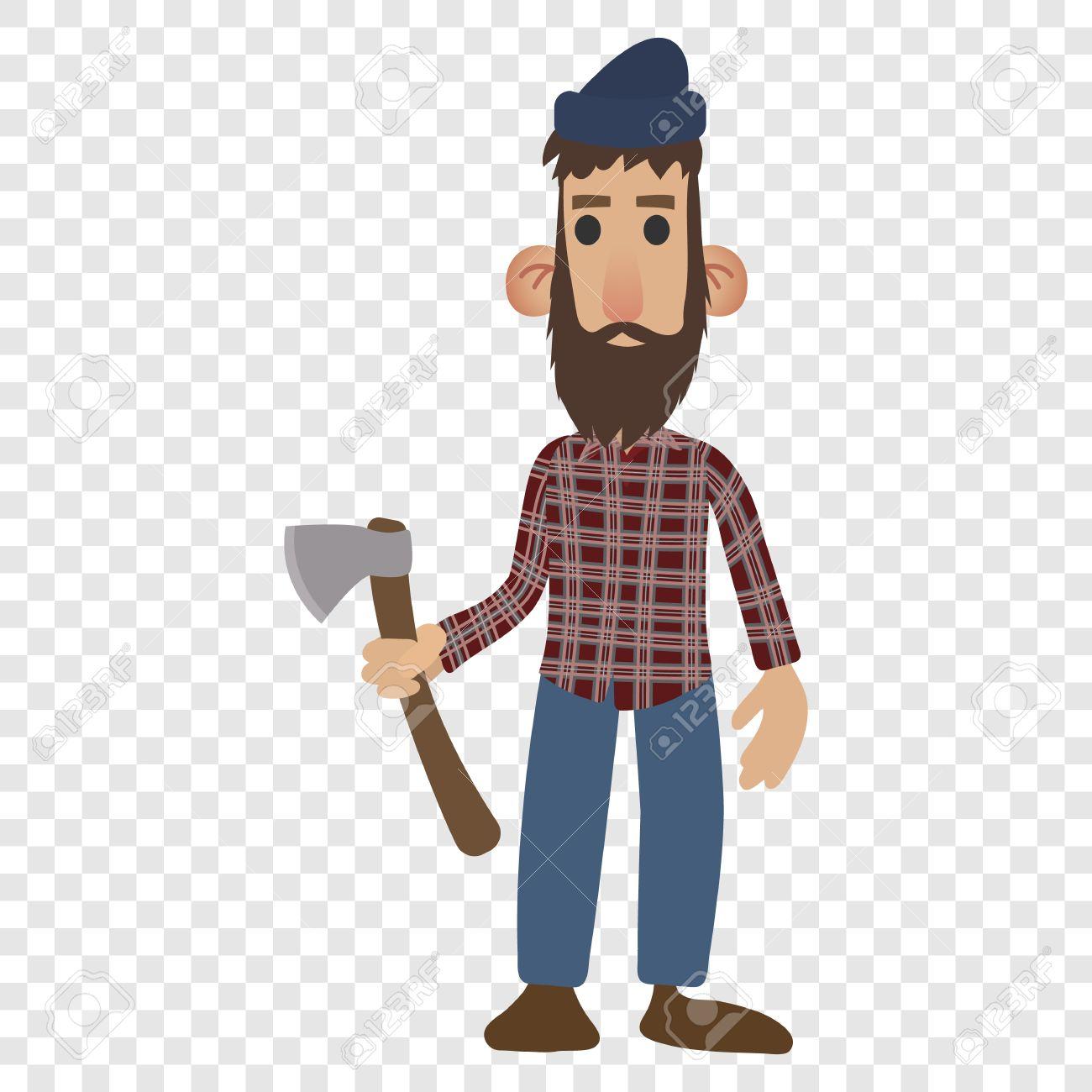 Lumberjack cartoon icon isolated on transparent background.