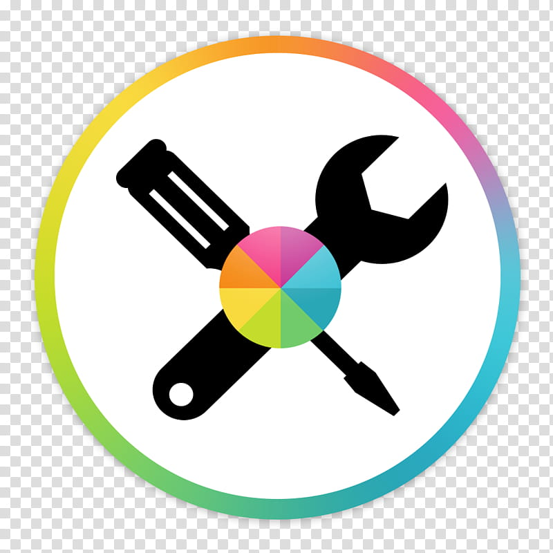 Flader default icons for Apple app Mac os X, Colorsync v, wrench and.