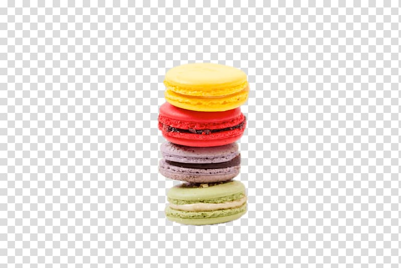 Yellow, red, gray, and green macaroons, Macarons transparent.