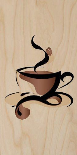 Abstract Swirl Artwork Cup of Coffee Java w/ Bean.