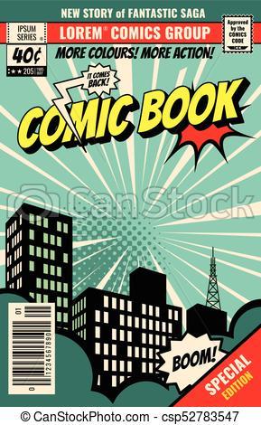 Retro magazine cover. Vintage comic book vector template.