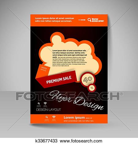 Editable vector template of flyer for business brochure, presentation,  website, magazine cover. Clipart.