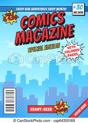Comic book cover page. City superhero empty comics magazine covers layout,  town buildings and vintage comic books vector template.
