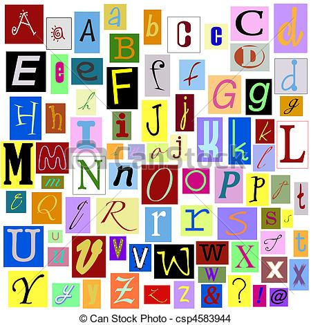 Stock Photo of Alphabet Magazine Letters isolated so you can make.