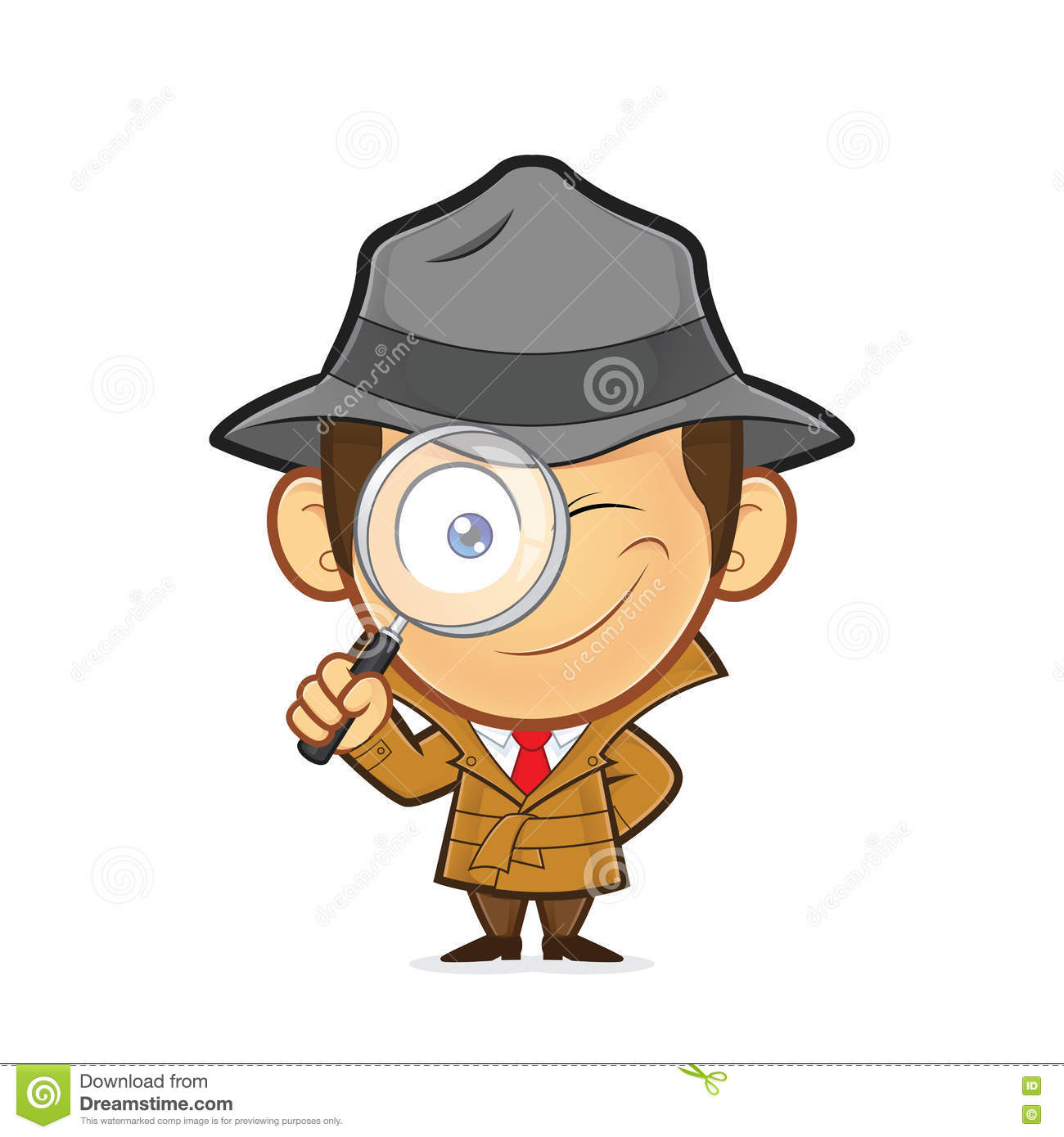 Detective Holding A Magnifying Glass Stock Vector.