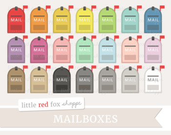 Mailbox Clipart; Postal, Post Office, Letter, Snail Mail, Mail Box.