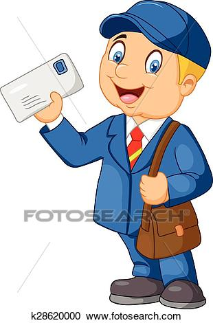 Cartoon Mail carrier with bag and l Clipart.
