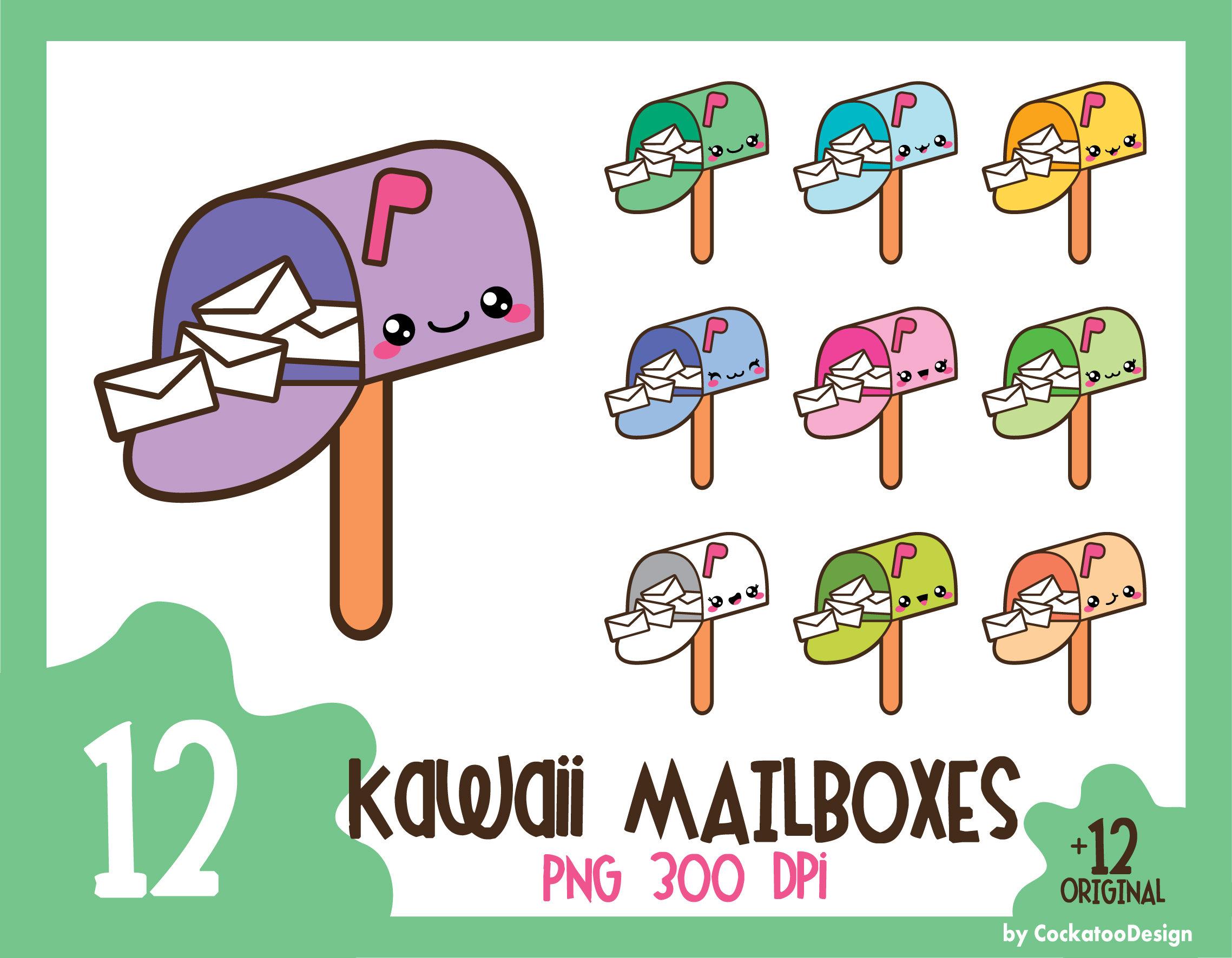 35% OFF, Kawaii clip art, kawaii happy mail clip art, mailbox clipart, cute  mailbox clipart, kawaii letter clipart, Commercial Use.