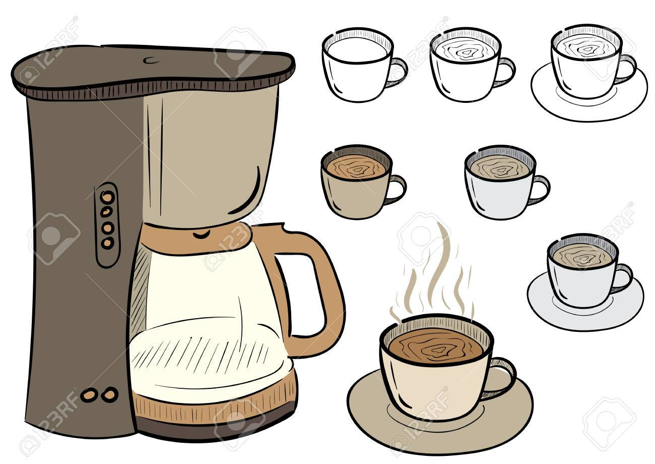 Clipart with a set of coffee mugs and the coffee maker.