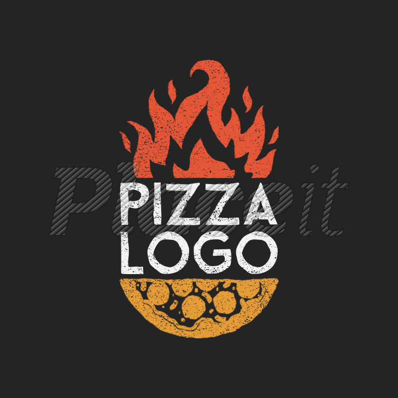 Pizza Restaurant Logo Maker with Fire Clipart 1024a.