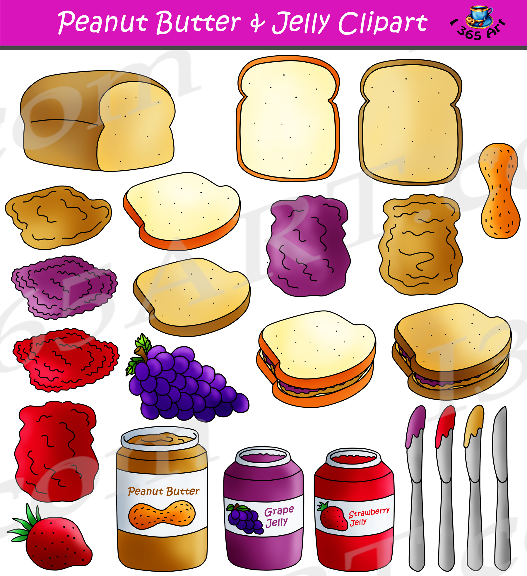 Peanut Butter Jelly Clipart Maker Graphics Commercial Download.