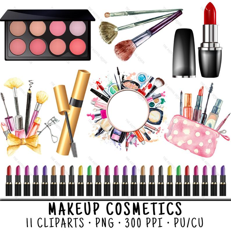 Watercolor Makeup Clipart, Makeup Clipart, Lipstick Clipart, Cosmetics  Clipart, Makeup Clip Art, Lipstick Clip Art, Cosmetics Clip Art.