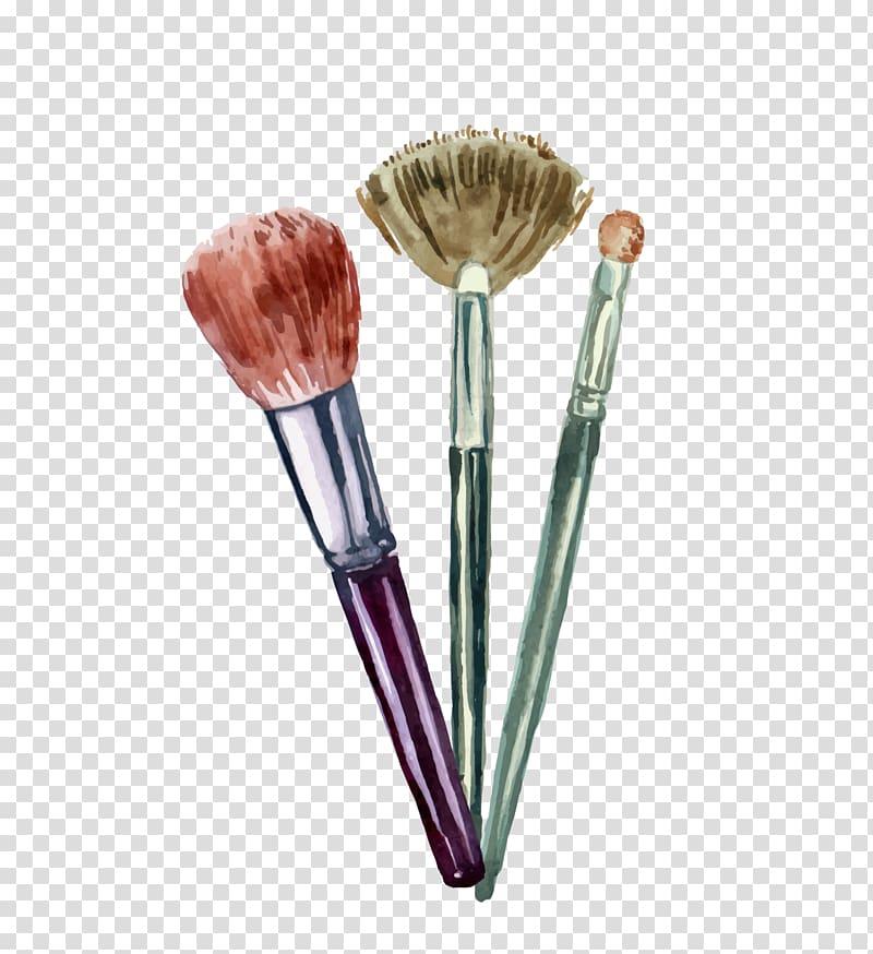 Three makeup brushes, Cosmetics Graphic design Illustration.