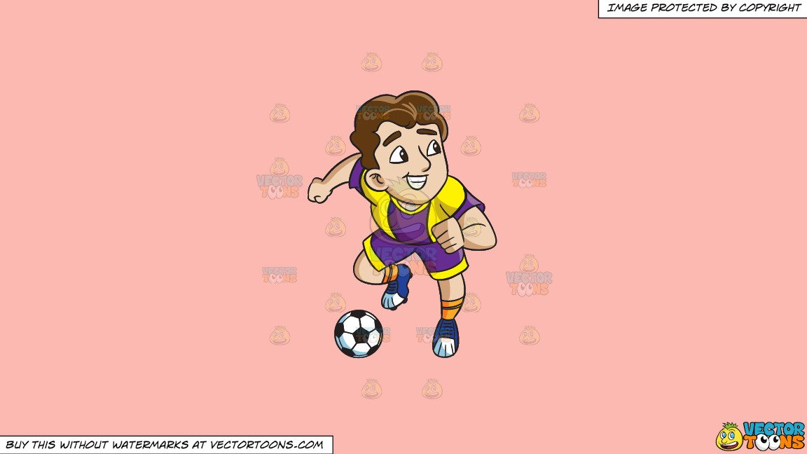 Clipart: A Male Soccer Athlete Charges To Make A Goal on a Solid Melon  Fcb9B2 Background.