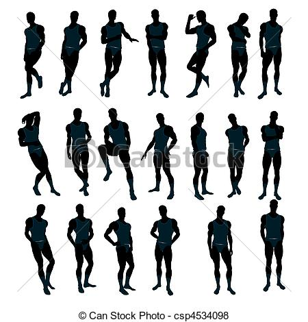 Stock Illustration of Male Underwear Model Silhouette.