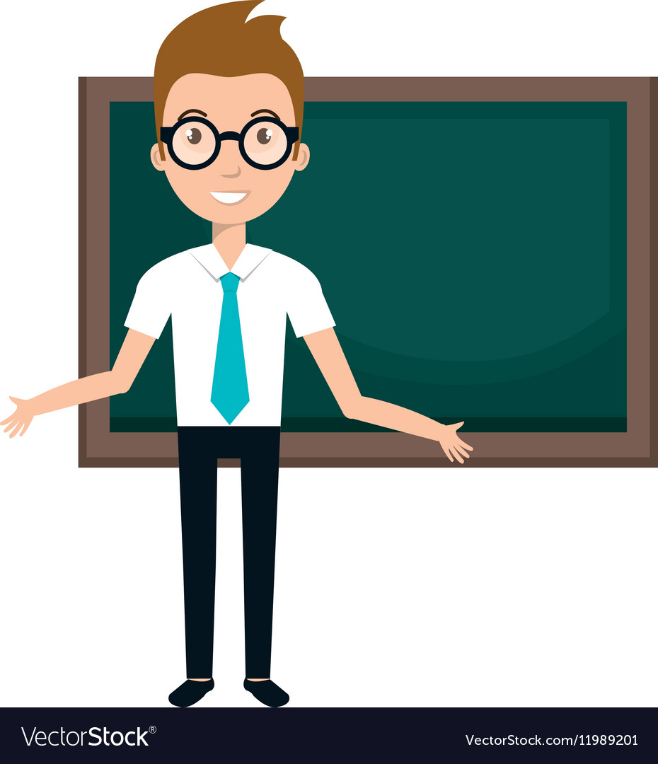 Young man teacher character with greenboard.
