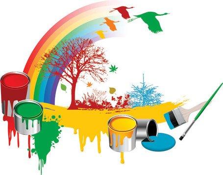 Kostenlose Clipart und Vektorgrafiken für Malen Sie Regenbogen Baum.