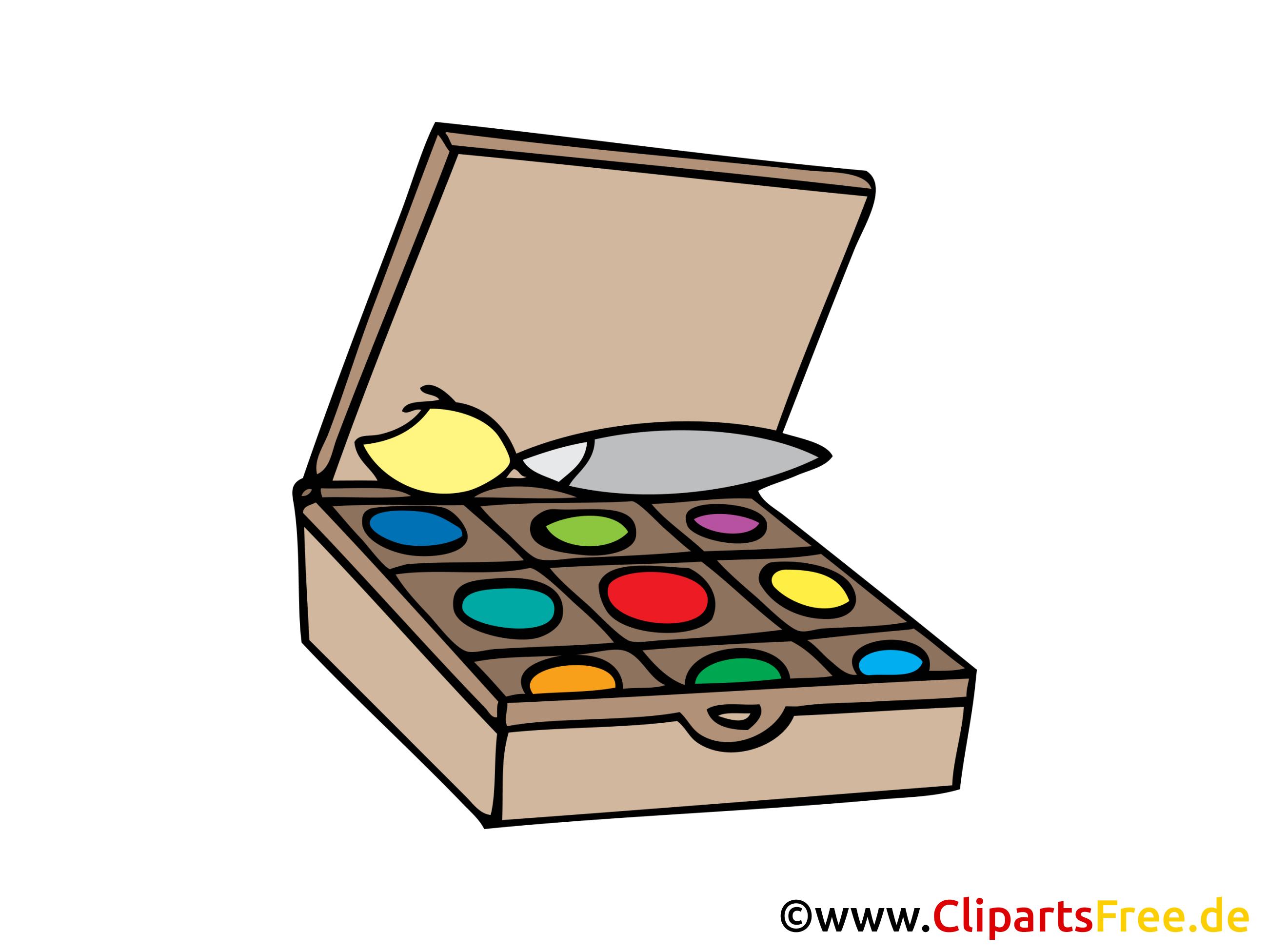 Farben zum Malen, Künstlerzubehör Bild, Clipart, Illustration.