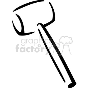 black and white rubber mallet clipart. Royalty.