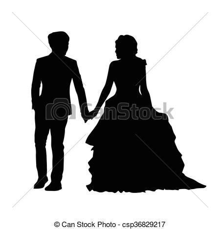 Vector Clip Art of Wedding, newlyweds go side by side, holding.