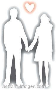 Clip Art of a Silhouette of a Couple Holding Hands.