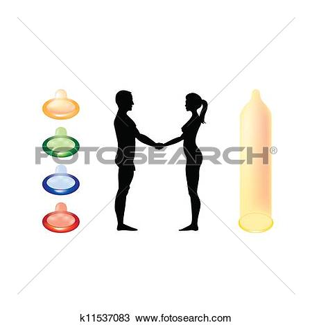 Clipart of naked man and woman holding hands.