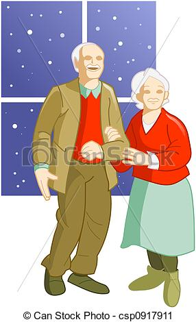 Old Man And Woman Laying In Bed Clipart.