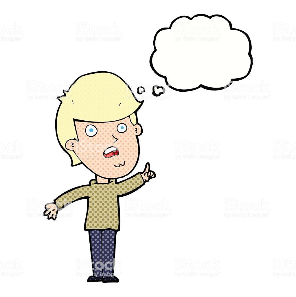 Cartoon Man Asking Question With Thought Bubble Stock Illustration.