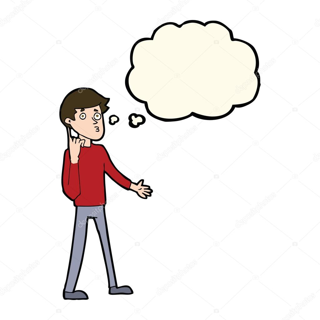 Cartoon man asking question with thought bubble — Stock Vector.