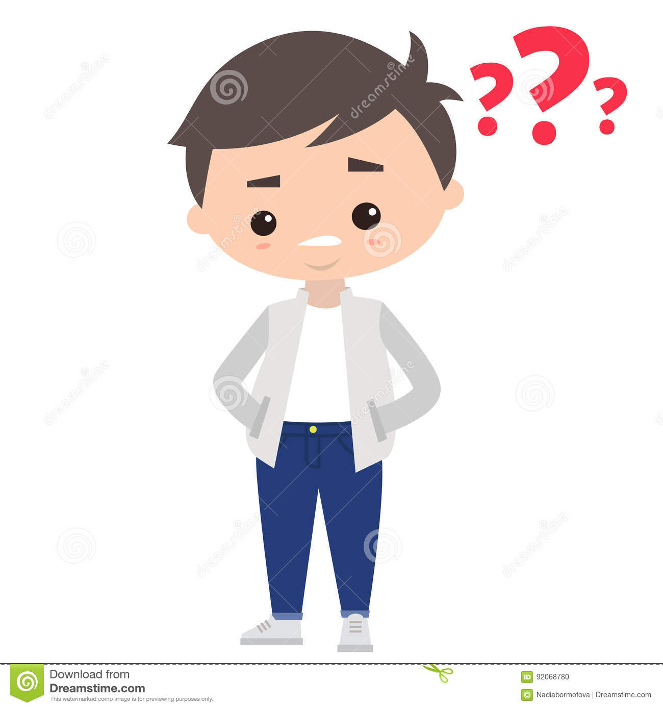 Young Man Asking A Question. Cartoon Illustration Stock Illustration.