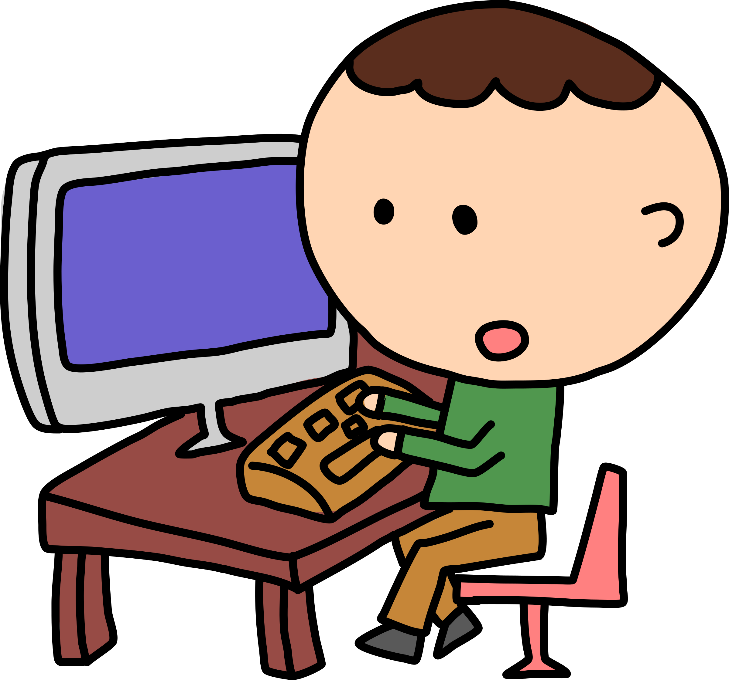 Man At Computer Clipart.