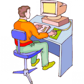 Guy On Computer Clipart.