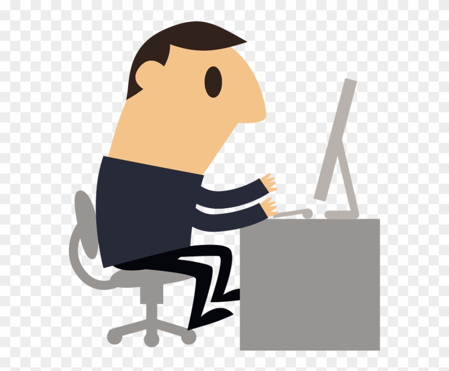 Cartoon Business Man Working With Computer.