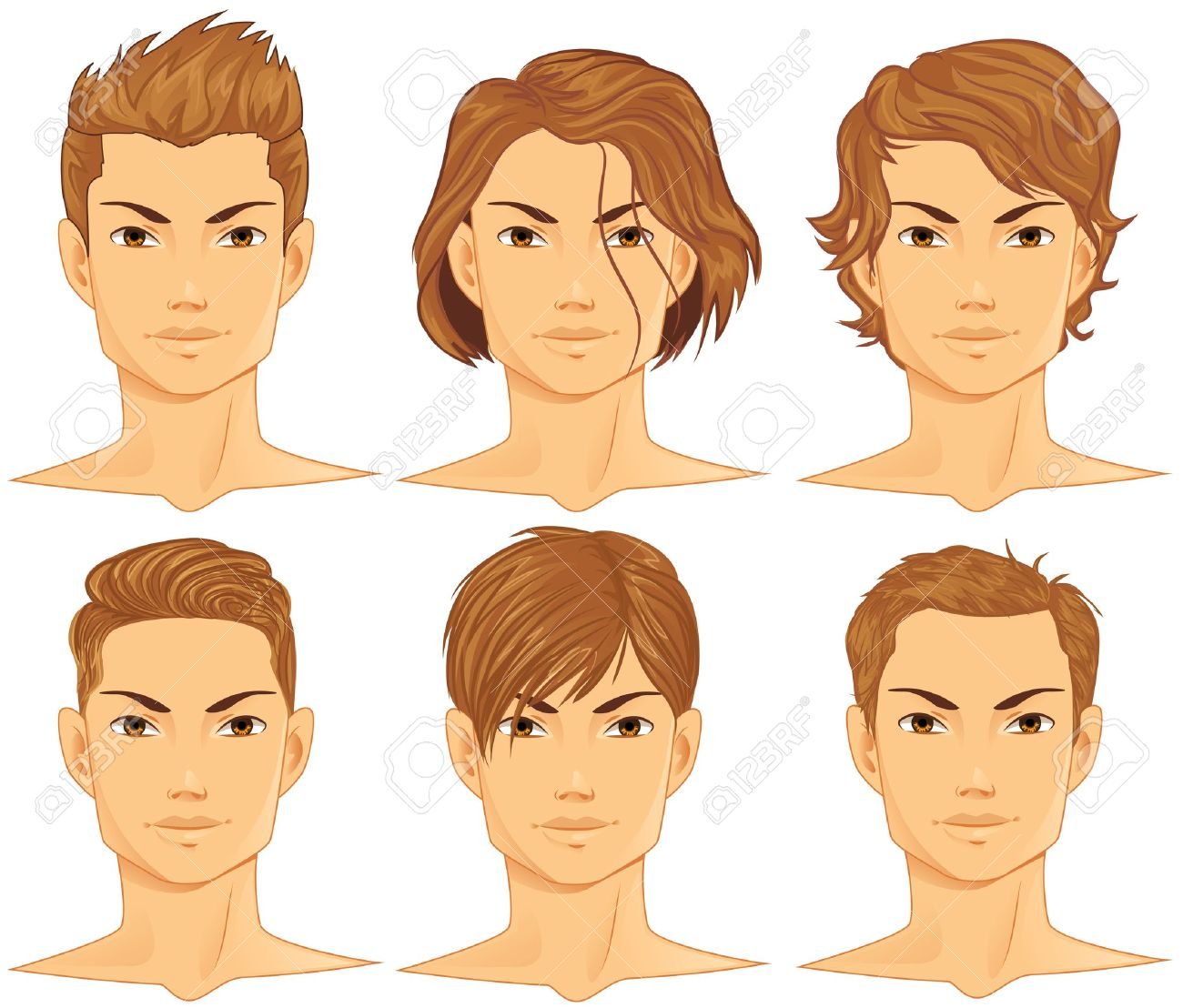 Young Happy Boy With Brown Wet Hair Is Smiling And: Clipart Man Face Brown Hari 20 Free Cliparts