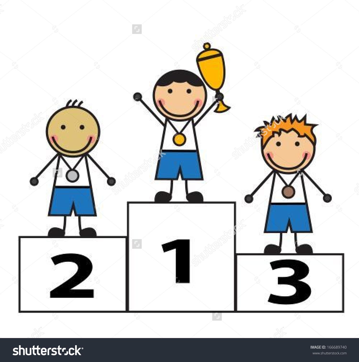 Cartoon Men Stand On Podium Winners Stock Vector 166689740.