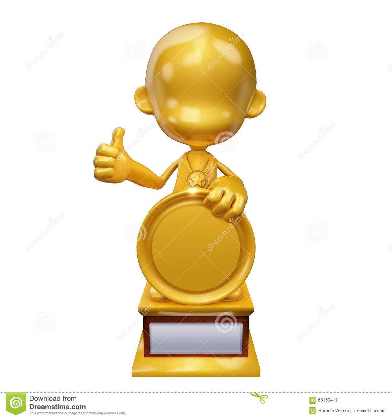 Golden Guy Trophy Holding Medal Stock Illustration.