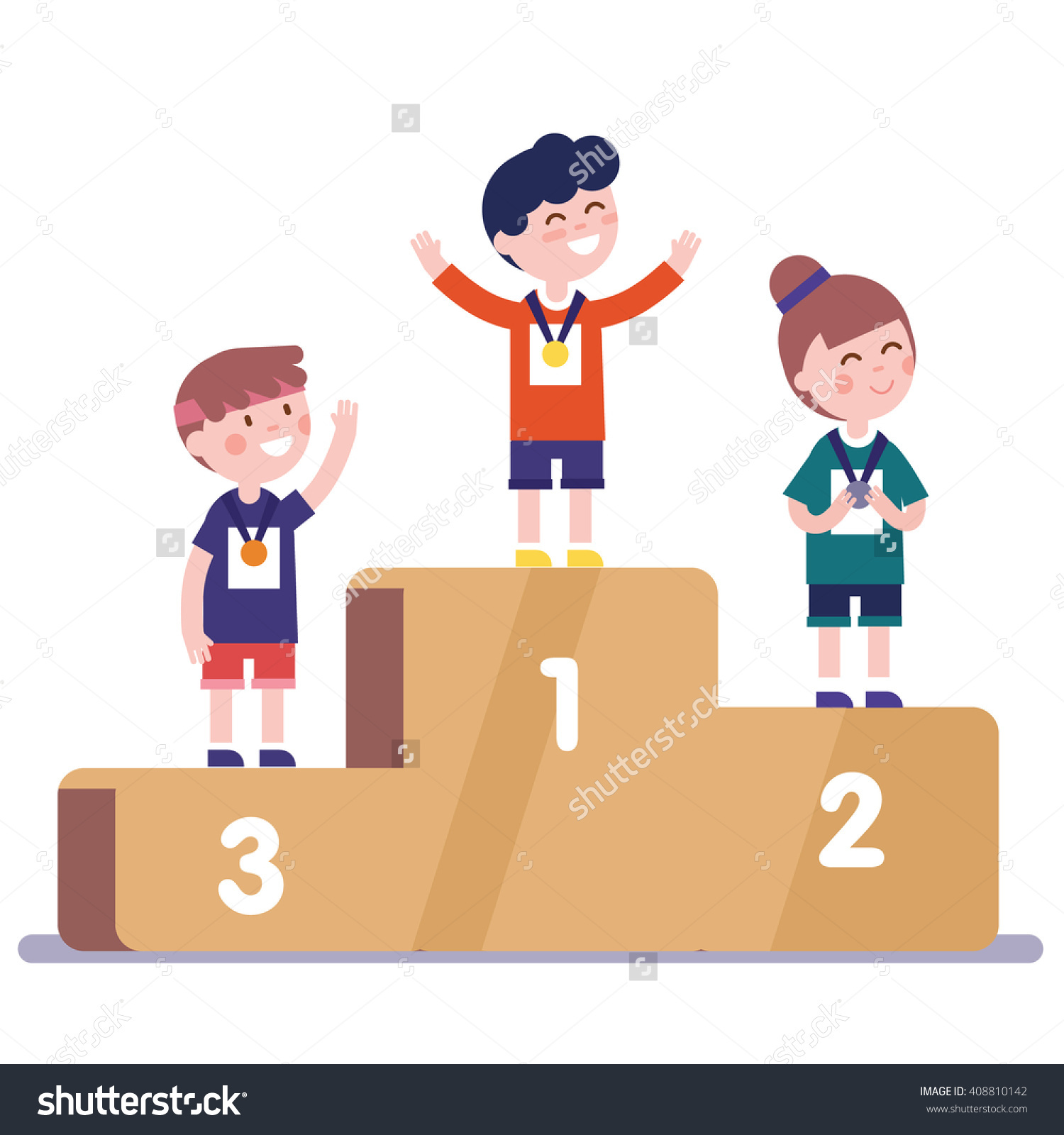 Medalists Kids Standing On Competition Winner Stock Vector.