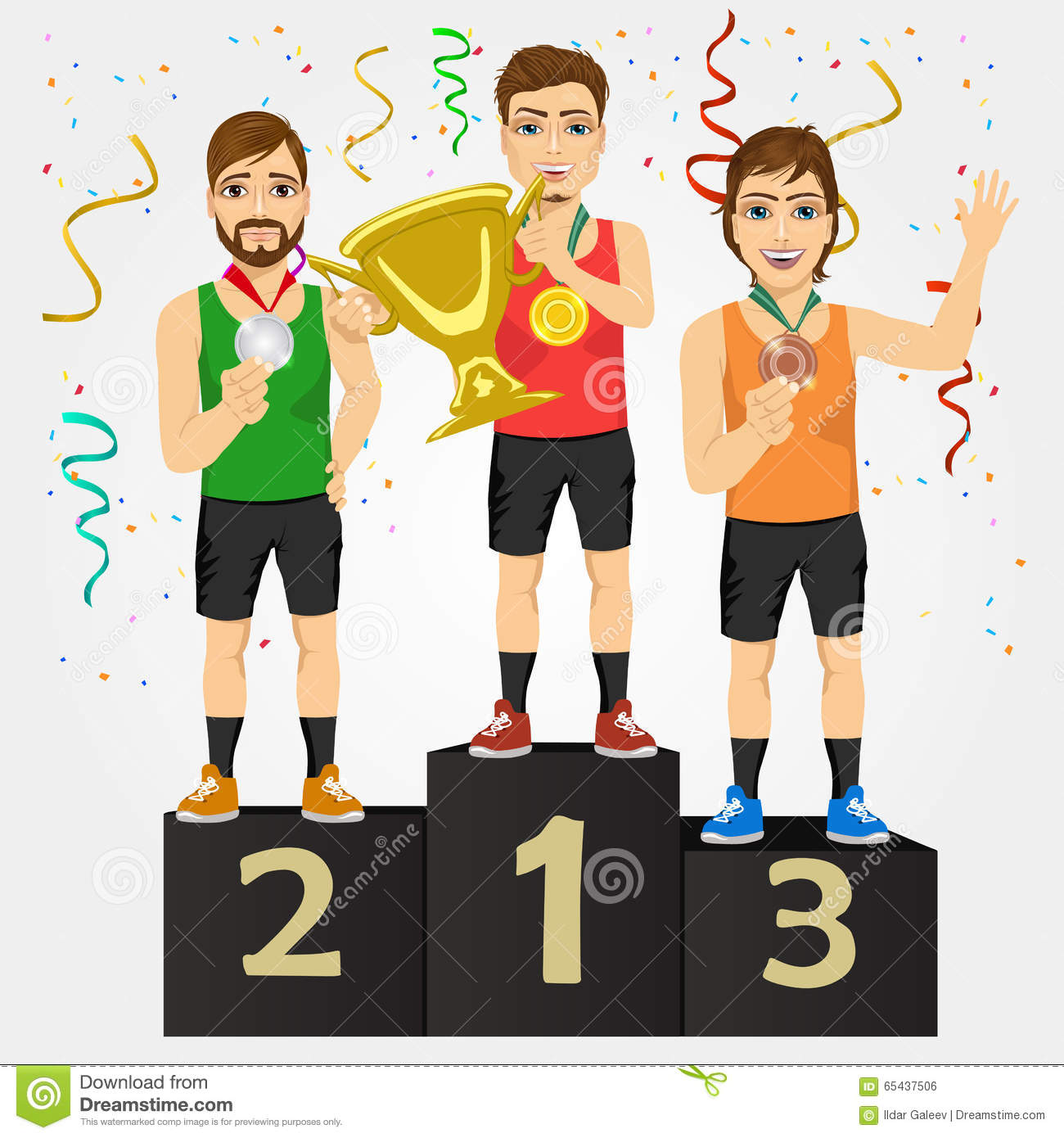 Young Sports Men Holding A Cup And Medals Stock Illustration.