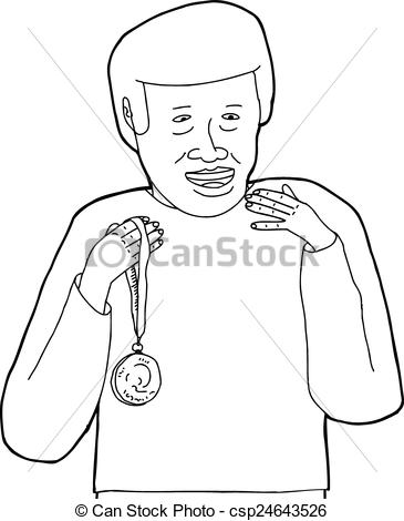 Vector Illustration of Outline of Smiling Man with Medal.