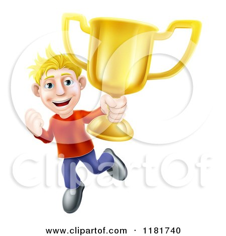 clipart man holding medal #15