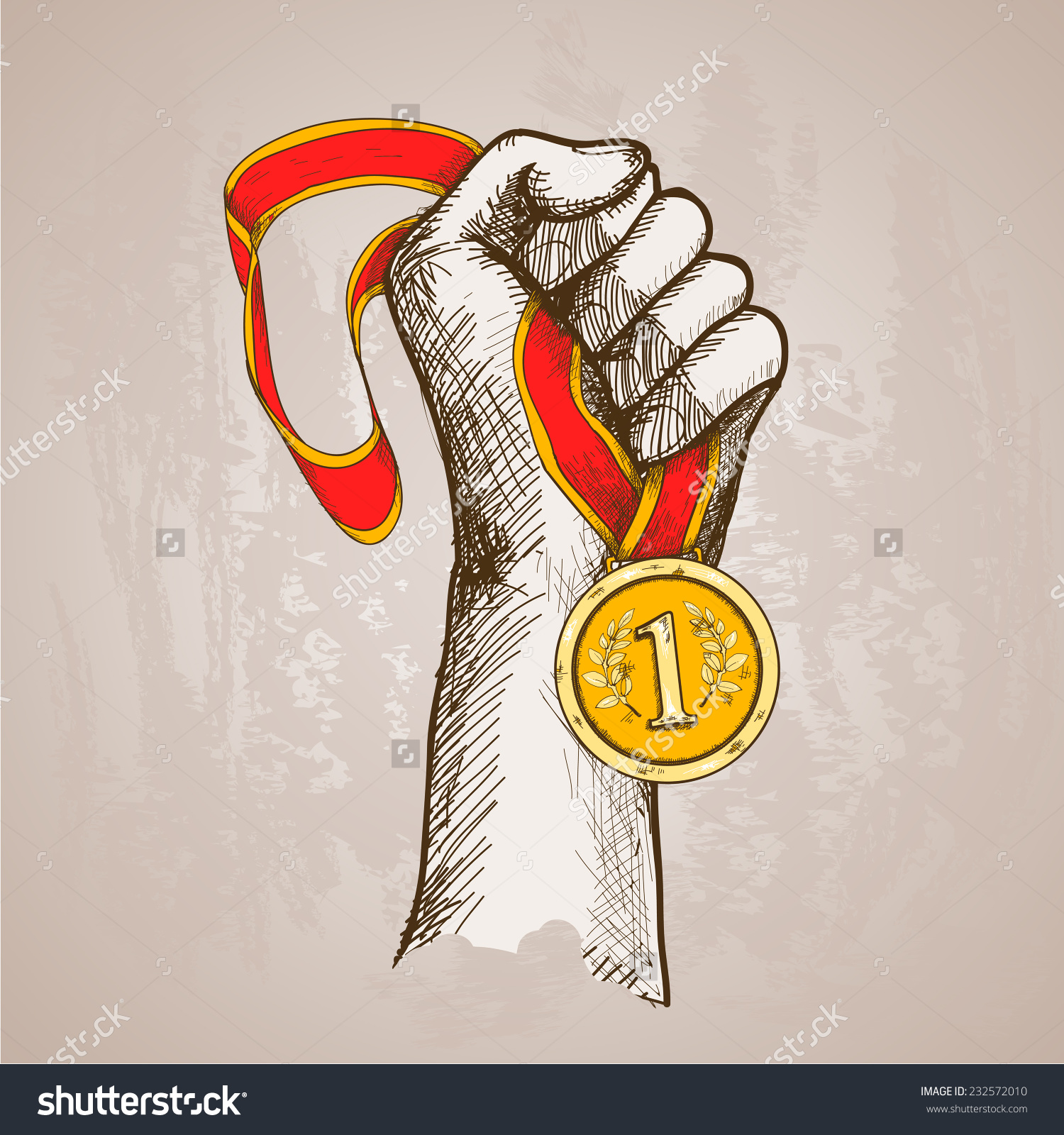 Hand Holding Golden Medal Champion Prize Stock Vector 232572010.