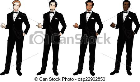 Clipart Vector of Man in black tuxedo and bow tie Caucasian Asian.