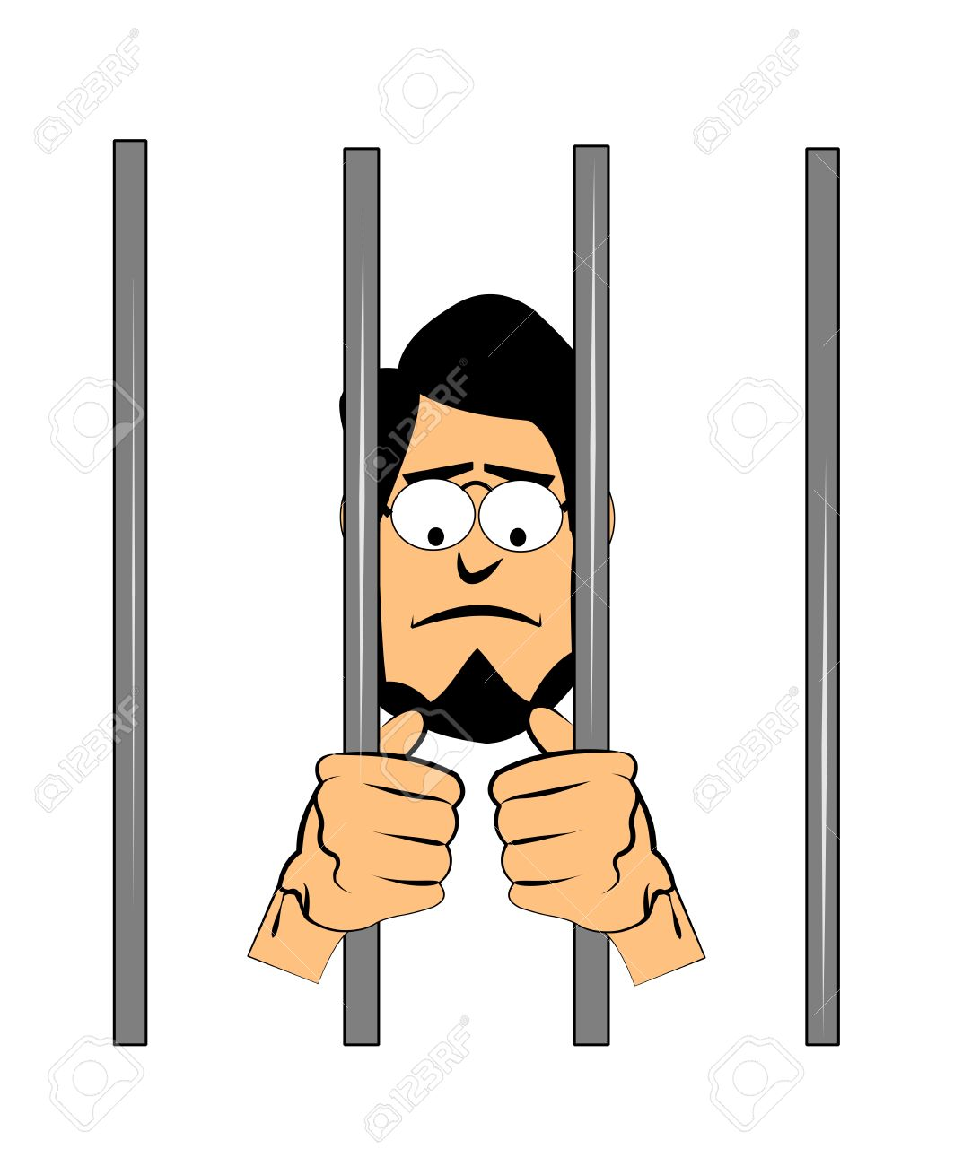 penalty clipart 23640197 man with beard behind bars in jail Stock.