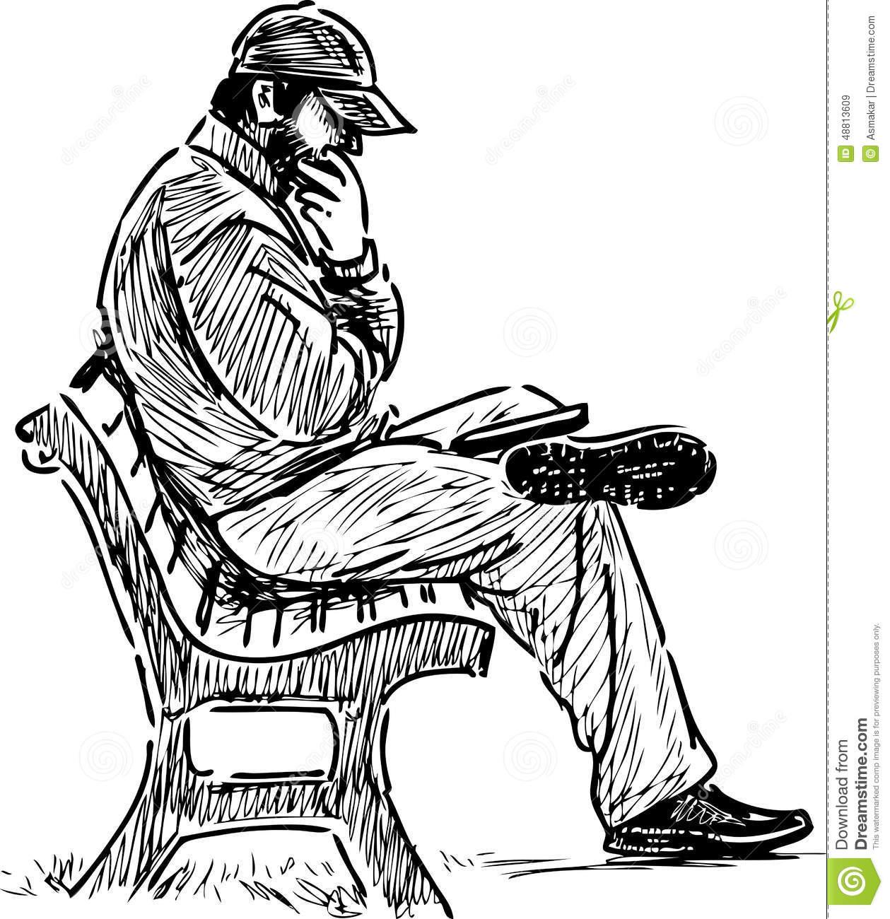Man Reading On A Park Bench Stock Vector.