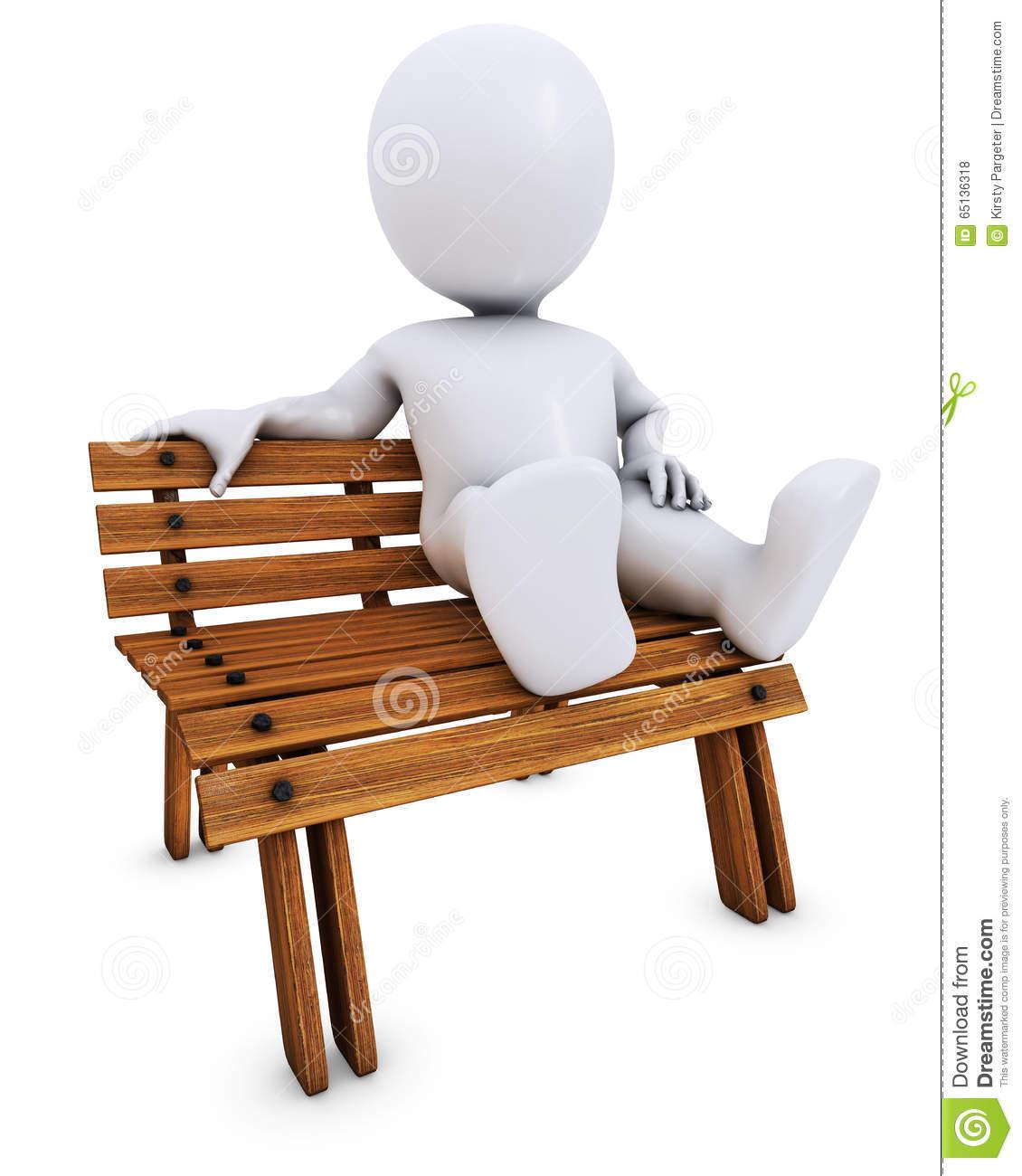 3D Morph Man On Park Bench Stock Illustration.