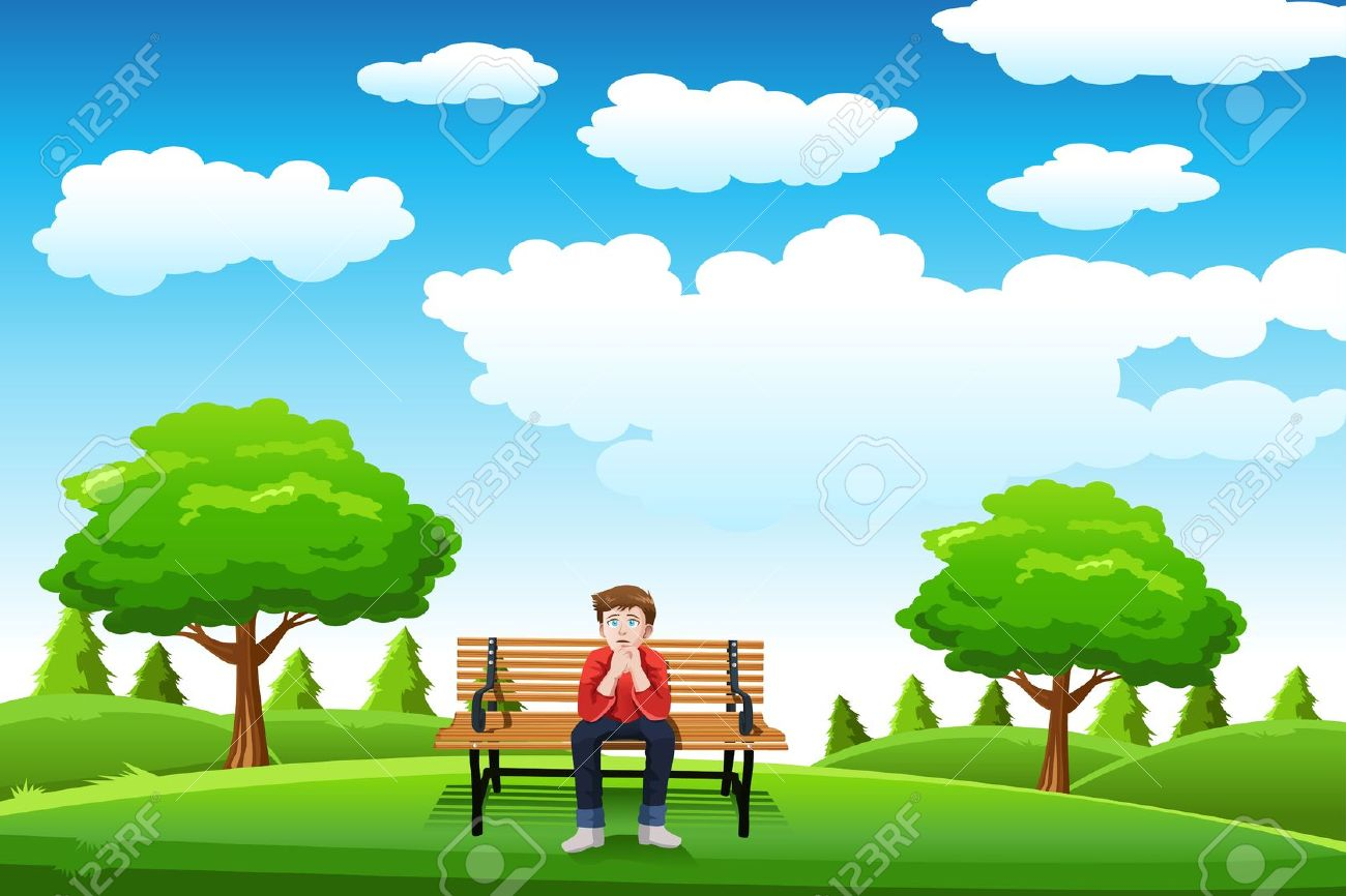 A Vector Illustration Of A Man Sitting On The Bench In A Park.